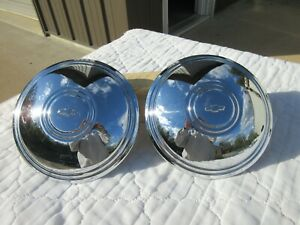 2chevy Corvette Rally Wheel Police Center Caps 15 14 oem stainless Steel used