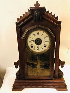 Clock Victorian Antique Mantel Shelf Winds Runs Mechanical Key C12pix Make Offer