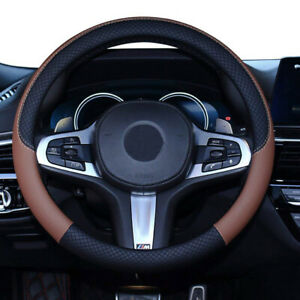 15 Pu Leather Auto Car Steering Wheel Cover Anti Slip Protector Universal Brown
