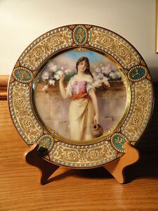 Beautiful Handpainted Royal Vienna Portrait Plate Signed Loffler Neoclassical