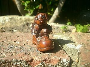 Hand Carved Wood Netsuke Puppy Dog In Old Boot Boxwood Collectable Figurine