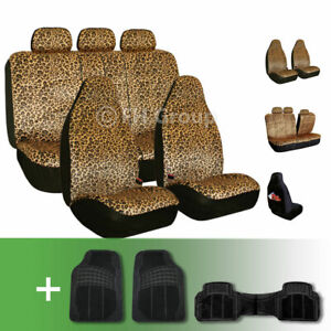 Brown Leopard Velour Seat Covers With Floor Mats