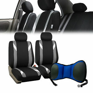 Car Front Bucket Seat Covers W Blue Seat Cushion Pad Combo Auto Car Suv Gray