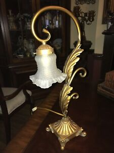 French Rococo Style Desk Lamp With Glass Shade