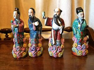 Four Chinese Antique Porcelain Figurines Eight Immortals By Master Wei Hongtai