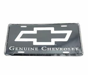 Genuine Chevrolet Chevy Black Silver Logo Aluminum Metal License Plate Sign Tag