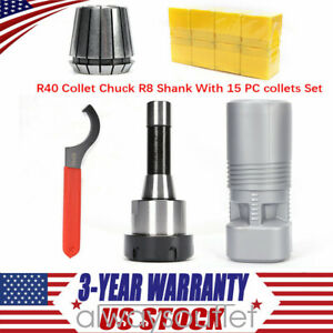 Er40 Collet Chuck R8 Shank With 15 Pc Collets Set Compact Lightweight Portable