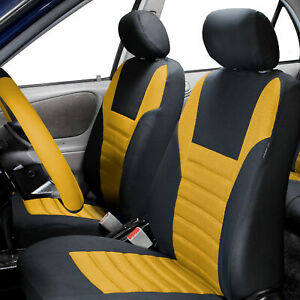 Air Mesh Car Seat Covers For Auto Car Suv Van Front Bucket Seat Pair Yellow