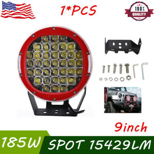 9inch 185w Red Led Work Lights Spot Driving Headlamp Offroad Suv Truck 4wd Round