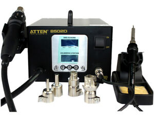 Atten At 8502d 220v 900w Hot Air Smd Rework Soldering Station Dual Lcd 2 In 1