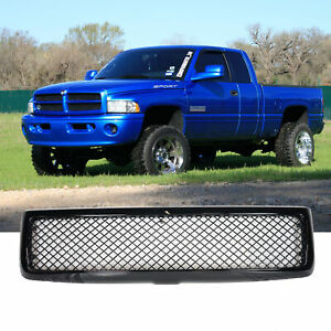 For 1994 2001 Dodge Ram Front Bumper Hood Mesh Type Gloss Black Grille Grill