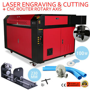 100w 900x600mm Co2 Laser Engraver Rotary Axis 1000mm s F Style Water Cooling