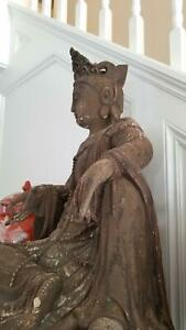Exceptional Lg Antique Carved Wooden Seated Chinese Buddha Guanyin Qing Dynasty