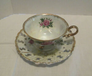 Vintage Porcelain Luster Tea Cup And Cut Out Saucer Roses