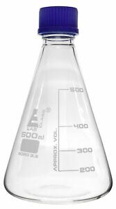 Erlenmeyer Conical Flask 500ml With Teflon Lined Screw Cap Borosilicate Glass
