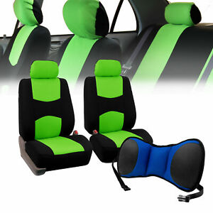 Front Bucket Seat Covers Green With Seat Back Cushion Pad Blue For Auto Car Suv