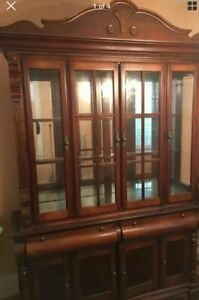 Antique Oak Curved Triple Bow Front Glass China Cabinet Local Delivery