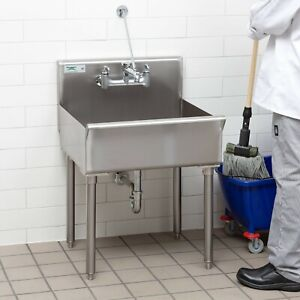 21 X 24 X 8 Stainless Steel Commercial Utility Sink Standing Floor Mop Nsf