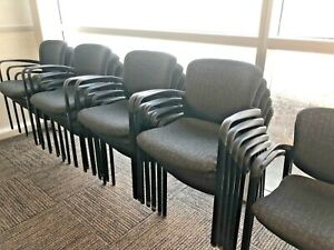 Lot Of 12 Stack Guest side lobby Chair By Haworth Improv Indesigner Gray Fabric