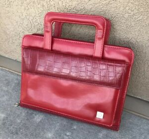 Day One Franklin Covey Classic Planner Zip Red Handles Faux Croc Leather 365
