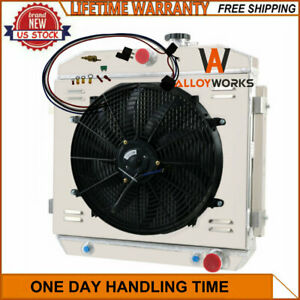 4row Radiator Shroud Fan Thermostat For 1955 1956 1957 Chevy Bel Air Nomad 57