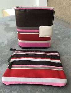Franklin Covey Planner Compact Snap Closure Stripes Brown Pink Matching Pouch
