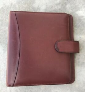 Classic Brown Burgundy Full grain Aniline Leather Franklin Quest Open Planner