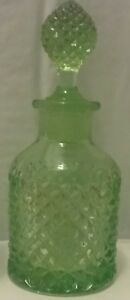 Vintage 6 5 Inch Tall Pressed Glass Green Perfume Bottle Euc