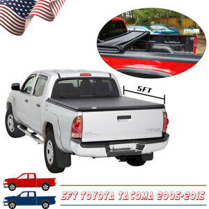 Fit 2005 2015 Toyota Tacoma 5ft 60in Truck Bed Soft Tri Fold Tonneau Cover