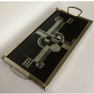 Iconic C 1930 S French Art Deco Geometric Cocktail Tray Eglomise Reverse Painted