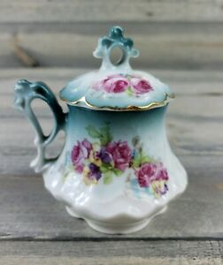 Antique Sugar Bowl Lidded Hand Painted And Stamped Imperial Vienna Austria