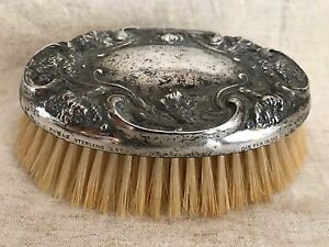 Sterling Silver Antique Grooming Brush Stamped Pat Pending 1900 Gorgeous