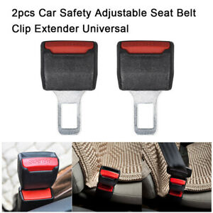2pcs Universal Auto Car Safety Seat Belt Buckle Extension Alarm Extender Black