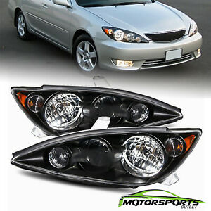 Fit 2005 2006 Toyota Camry Oe Style Crystal Black Headlights Replacement Pair