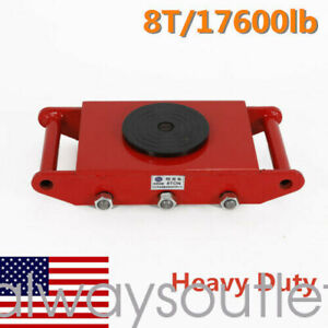 360 Rotation 8t Dolly Machinery Mover Heavy duty Red 6 Steel Wheel 17600lbs Us