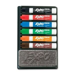 Expo 2 Dry erase Markers W eraser Chisel Point 6 Ast Set Case Of 2