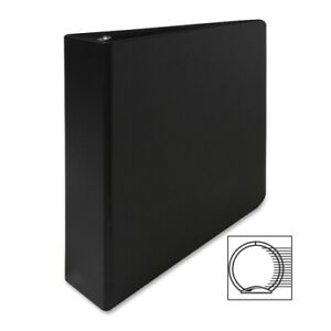 Business Source Round Ring Binder 2 Capacity 11 x8 1 2 Black Case Of 8