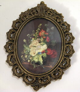 Vintage Oval Ornate Metal Frame Pictures Made In Italy Vase Of Flowers
