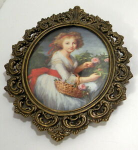 Vtg Oval Ornate Metal Frame Pictures Made In Italy Young Lady With Roses