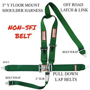 Street Car 5 Point Safety Harness 3 Seat Belt Y Floor Mount Bolt In Dark Green