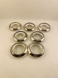 7 Vintage Frank M Whiting 04 Sterling Silver Glass Coasters 3 Diameter