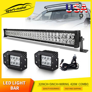 Led Light Bar 32 Inch 4d 420w Wiring 4 Pods Offroad Driving Fog Lamp Marine