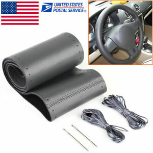 15 Car Steering Wheel Cover Black Genuine Leather Diy With Needles And Thread