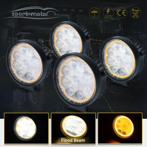 5d Led Pods Light Bar Round 4 Inch 45w Flood Off Road 4x4 Amber Fog Lamp Atv
