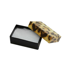 100 Pc 2 5 8 X 1 1 2 Gift Boxes Jewelry Leopard Print Cotton Filled Batting