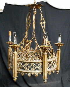 Antique Bronze Gothic Hanging Fixture 6 Lights Nice Quality Castings