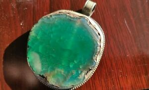 Natural Green Agate Gem Stone Silver Tibetan Chinese Antique Age Big Pendant