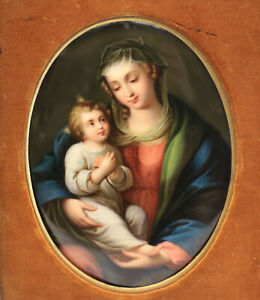 Kpm Hand Painted Porcelain Plaque Madonna Child 19th Century
