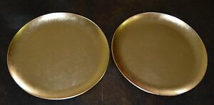 Japanese New Old Gold Foil Lacquer Pair 2 Wagashi Tea Ceremony Plates Tray 10 In