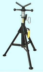 Adjustable Steel Pipe Stand 2500 Lb Cap Support Piping Plumbing V head Tool